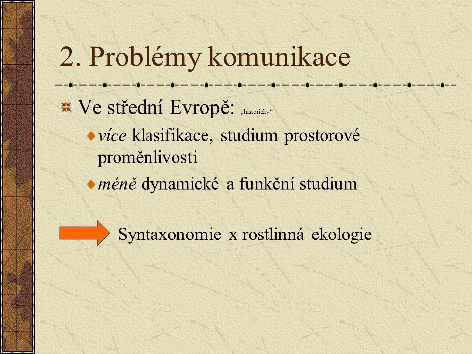 """2. Problémy komunikace Ve střední Evropě: """"historicky"""" více klasifikace, studium prostorové proměnlivosti méně dynamické a funkční studium Syntaxonomi"""