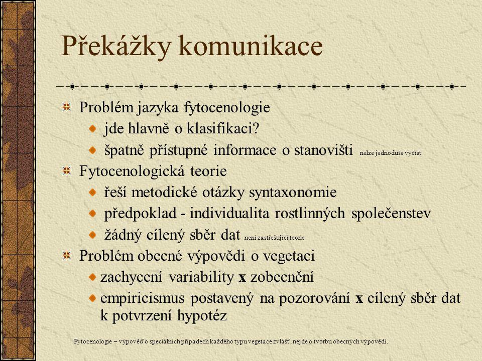 Překážky komunikace Problém jazyka fytocenologie jde hlavně o klasifikaci.