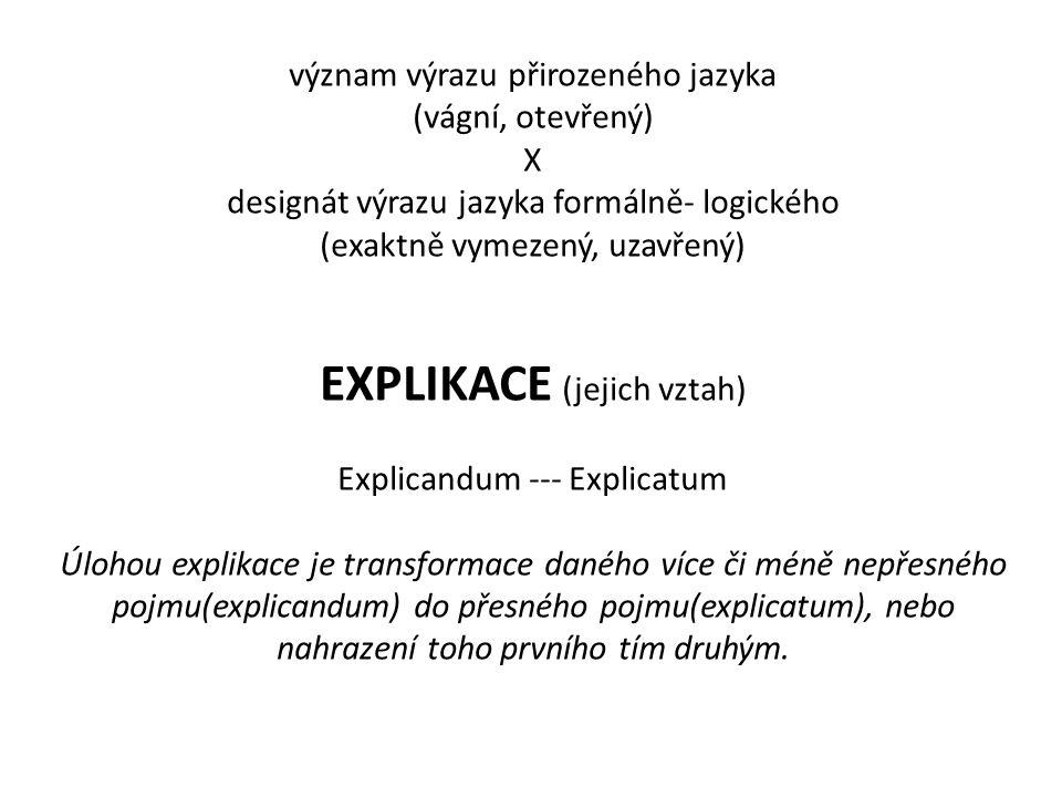 význam výrazu přirozeného jazyka (vágní, otevřený) X designát výrazu jazyka formálně- logického (exaktně vymezený, uzavřený) EXPLIKACE (jejich vztah)