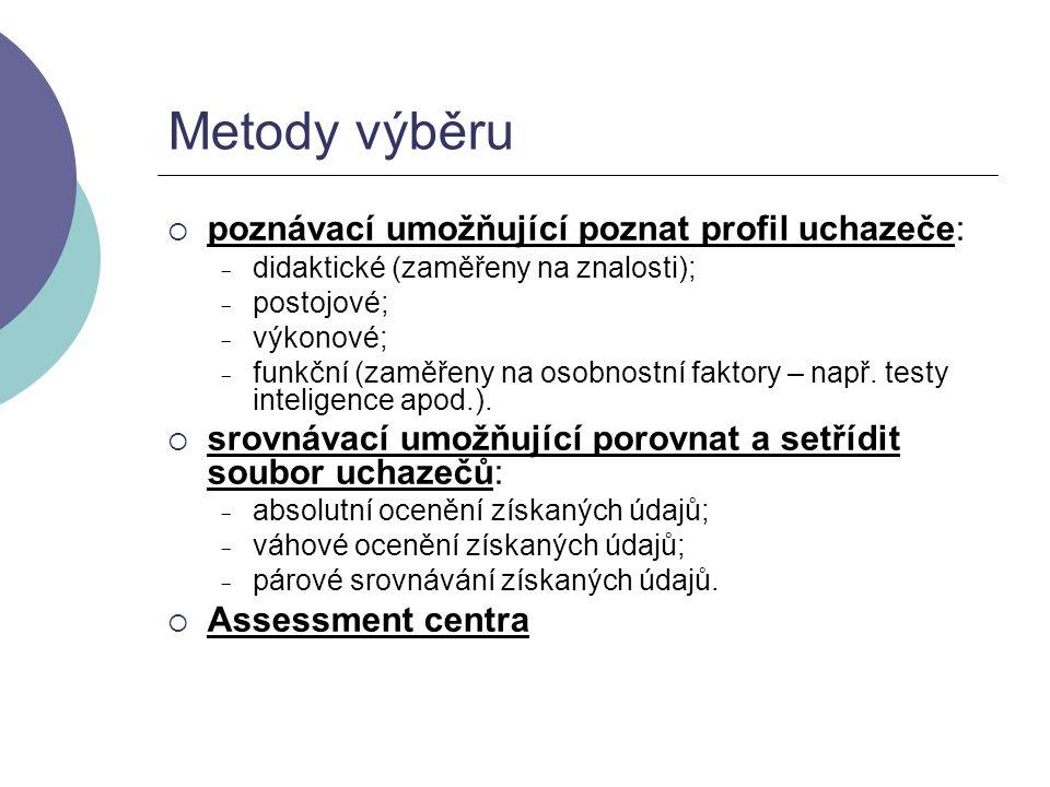 Metody výběru  poznávací umožňující poznat profil uchazeče: - didaktické (zaměřeny na znalosti); - postojové; - výkonové; - funkční (zaměřeny na osob