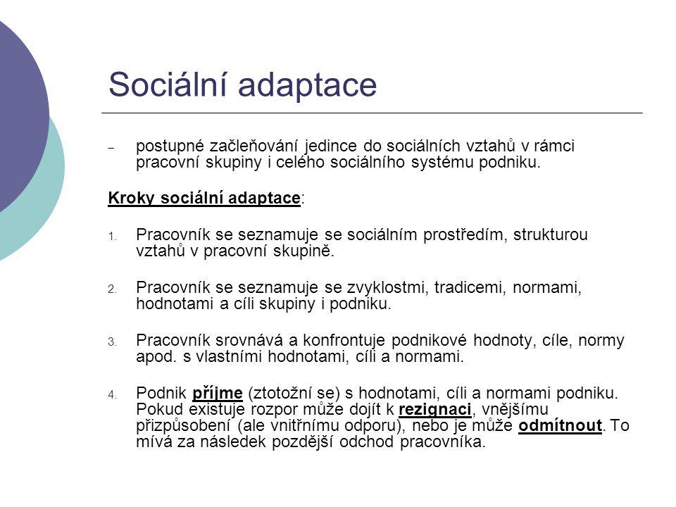 Sociální adaptace  postupné začleňování jedince do sociálních vztahů v rámci pracovní skupiny i celého sociálního systému podniku. Kroky sociální ada