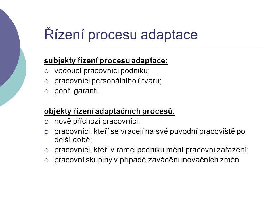 Řízení procesu adaptace subjekty řízení procesu adaptace:  vedoucí pracovníci podniku;  pracovníci personálního útvaru;  popř. garanti. objekty říz