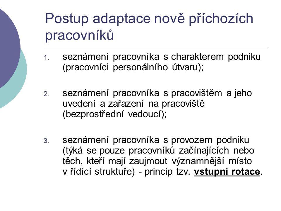 Postup adaptace nově příchozích pracovníků 1. seznámení pracovníka s charakterem podniku (pracovníci personálního útvaru); 2. seznámení pracovníka s p