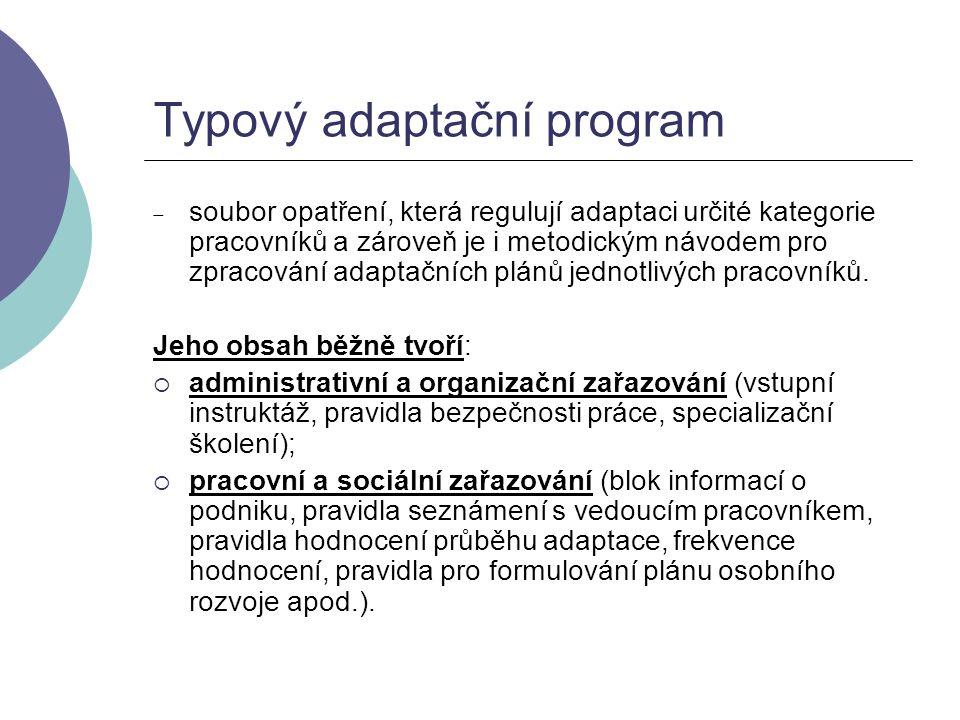 Typový adaptační program  soubor opatření, která regulují adaptaci určité kategorie pracovníků a zároveň je i metodickým návodem pro zpracování adapt