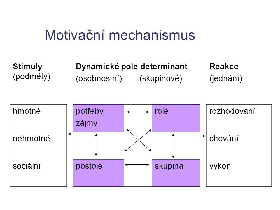 Motivační mechanismus Stimuly (podměty) Dynamické pole determinant (osobnostní) (skupinové) Reakce (jednání) hmotnépotřeby, zájmy rolerozhodování nehm