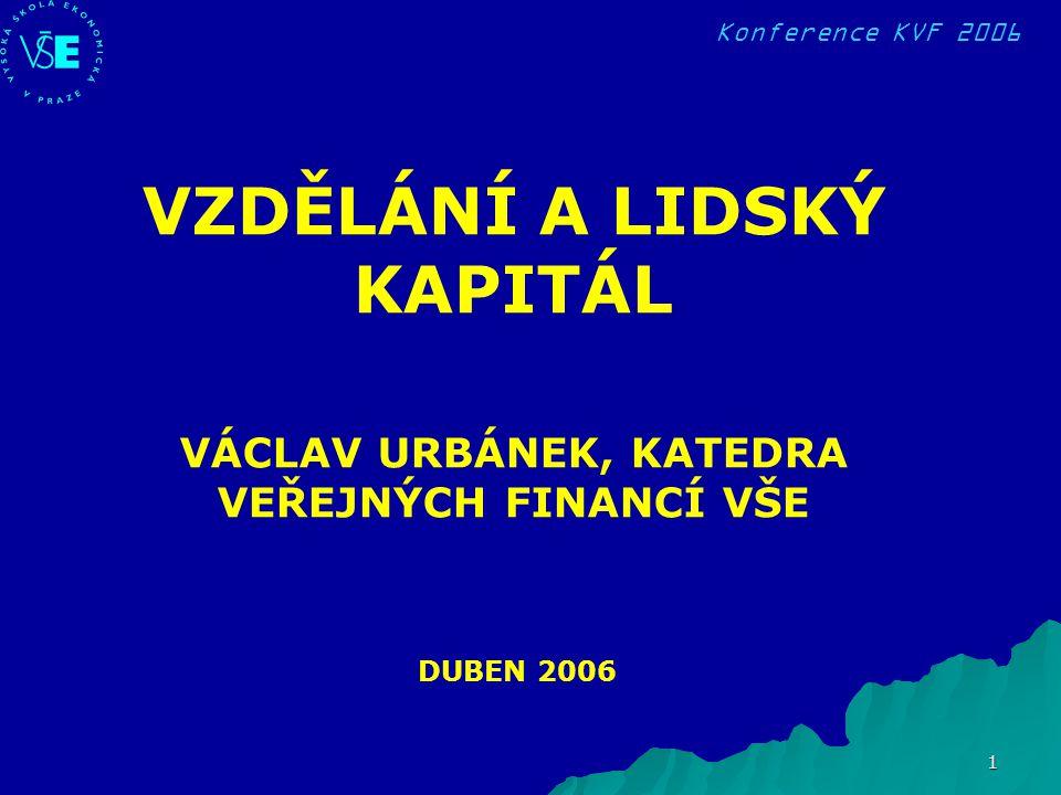Konference KVF 2006 1 DUBEN 2006 VZDĚLÁNÍ A LIDSKÝ KAPITÁL VÁCLAV URBÁNEK, KATEDRA VEŘEJNÝCH FINANCÍ VŠE