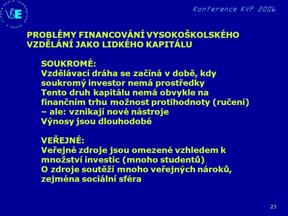 Konference KVF 2006 23 PROBLÉMY FINANCOVÁNÍ VYSOKOŠKOLSKÉHO VZDĚLÁNÍ JAKO LIDKÉHO KAPITÁLU SOUKROMÉ: Vzdělávací dráha se začíná v době, kdy soukromý i