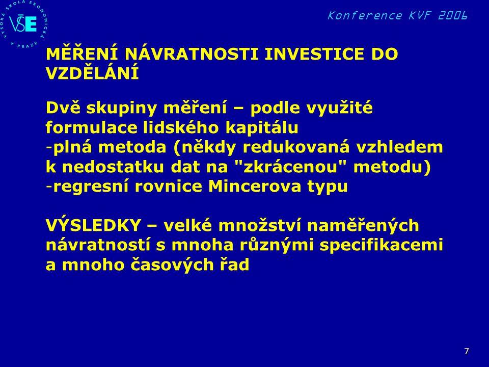 Konference KVF 2006 7 MĚŘENÍ NÁVRATNOSTI INVESTICE DO VZDĚLÁNÍ Dvě skupiny měření – podle využité formulace lidského kapitálu -plná metoda (někdy redu