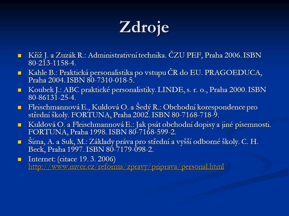 Zdroje Kříž J. a Zuzák R.: Administrativní technika. ČZU PEF, Praha 2006. ISBN 80-213-1158-4. Kříž J. a Zuzák R.: Administrativní technika. ČZU PEF, P