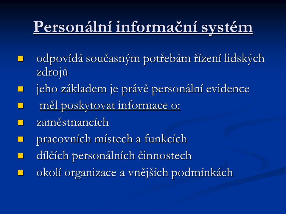 Personální evidence je standardizovaný soubor dokumentů odpovídající právním normám a zaznamenávající průběh a výsledky jednotlivých personálních činností je standardizovaný soubor dokumentů odpovídající právním normám a zaznamenávající průběh a výsledky jednotlivých personálních činností proces lze rozčlenit do těchto fází: proces lze rozčlenit do těchto fází: Dokumenty o výběru zaměstnance Dokumenty o výběru zaměstnance Dokumenty o vzniku pracovního poměru Dokumenty o vzniku pracovního poměru Dokumenty po dobu trvání pracovního poměru Dokumenty po dobu trvání pracovního poměru Dokumenty o skončení pracovního poměru Dokumenty o skončení pracovního poměru