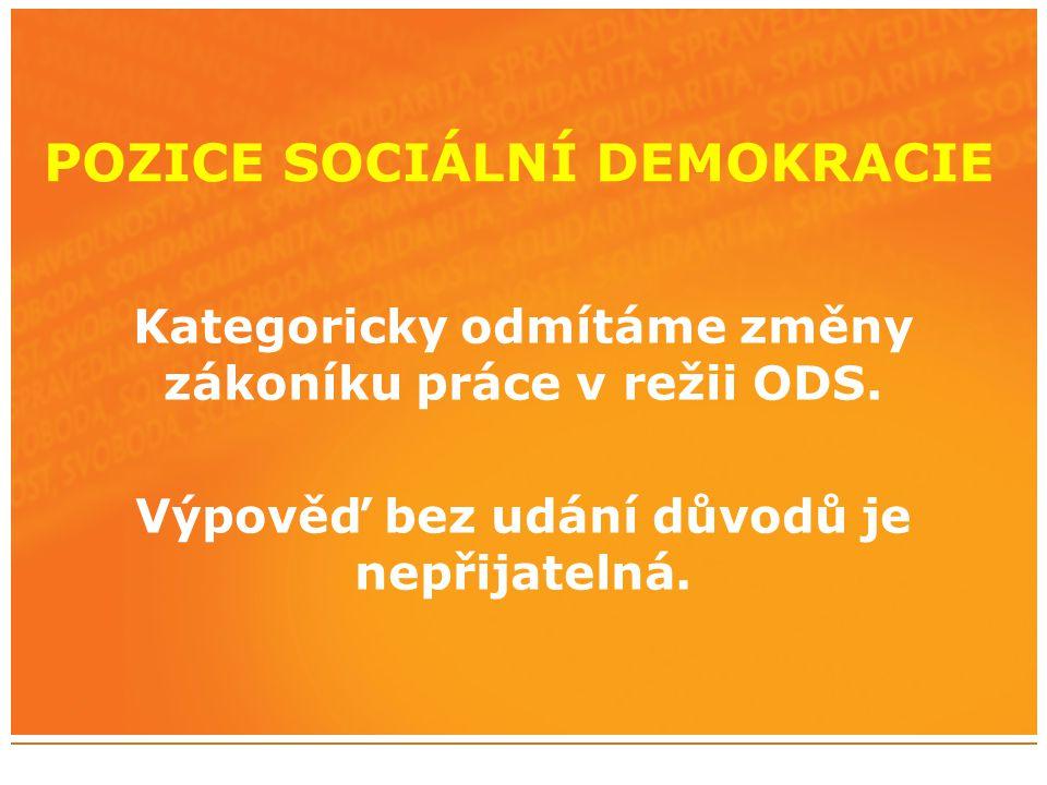 POZICE SOCIÁLNÍ DEMOKRACIE Kategoricky odmítáme změny zákoníku práce v režii ODS.
