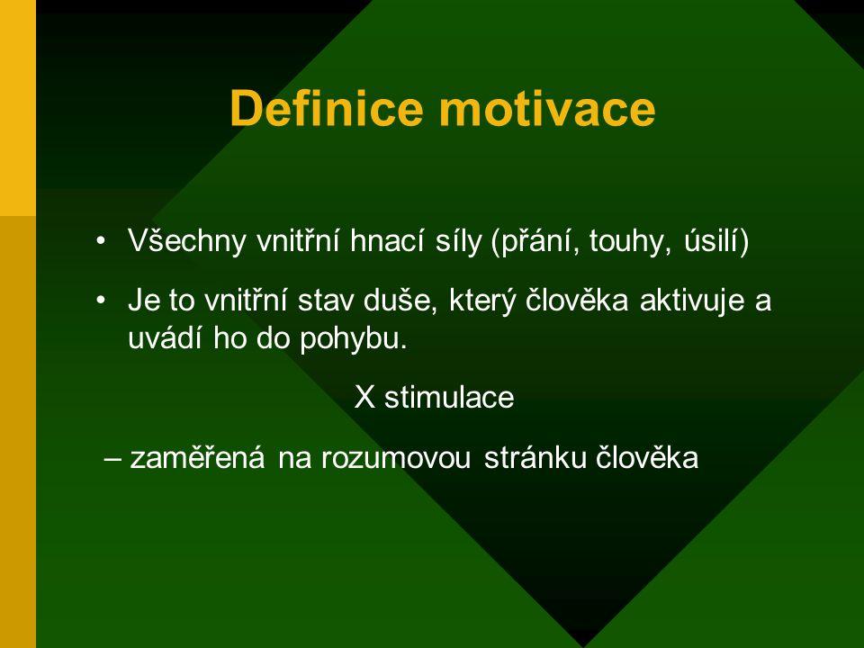Definice motivace Všechny vnitřní hnací síly (přání, touhy, úsilí) Je to vnitřní stav duše, který člověka aktivuje a uvádí ho do pohybu.