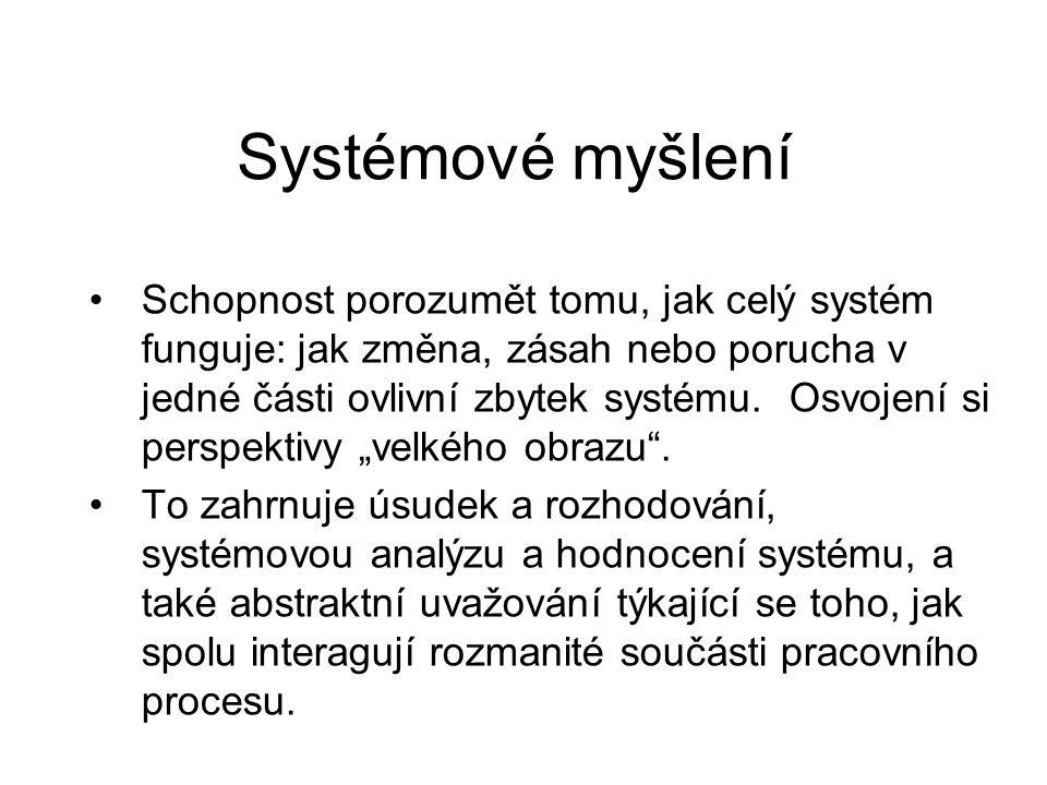 Systémové myšlení Schopnost porozumět tomu, jak celý systém funguje: jak změna, zásah nebo porucha v jedné části ovlivní zbytek systému.