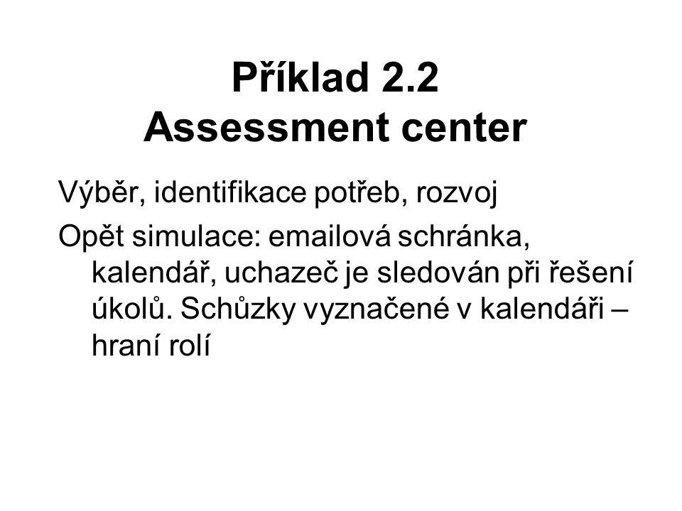 Příklad 2.2 Assessment center Výběr, identifikace potřeb, rozvoj Opět simulace: emailová schránka, kalendář, uchazeč je sledován při řešení úkolů.