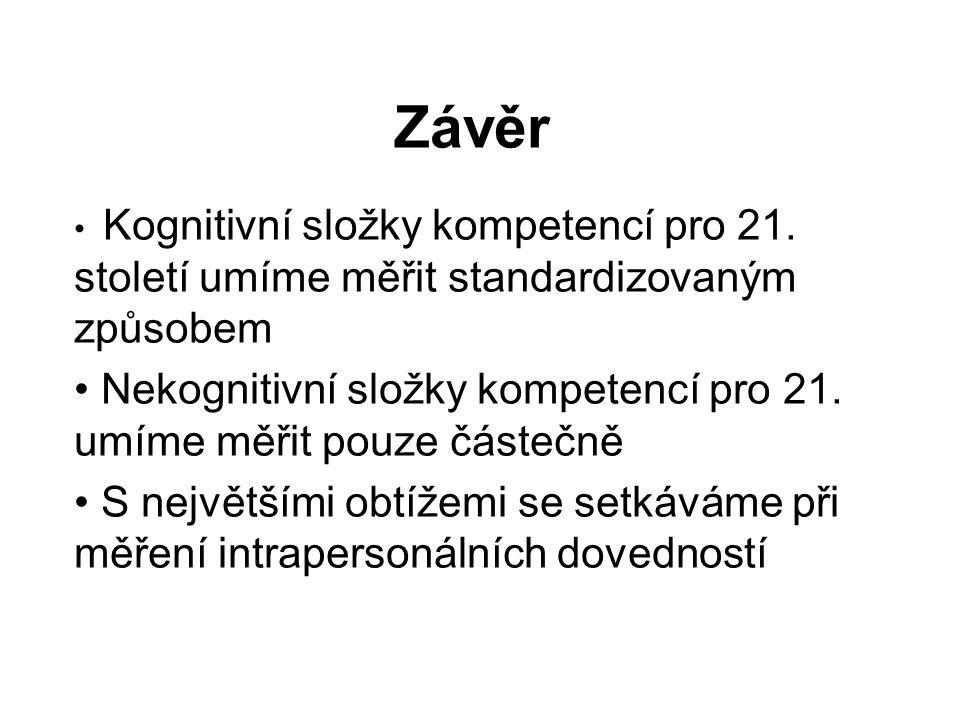 Závěr Kognitivní složky kompetencí pro 21.