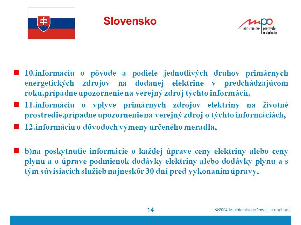  2004  Ministerstvo průmyslu a obchodu 14 Slovensko 10.informáciu o pôvode a podiele jednotlivých druhov primárnych energetických zdrojov na dodane