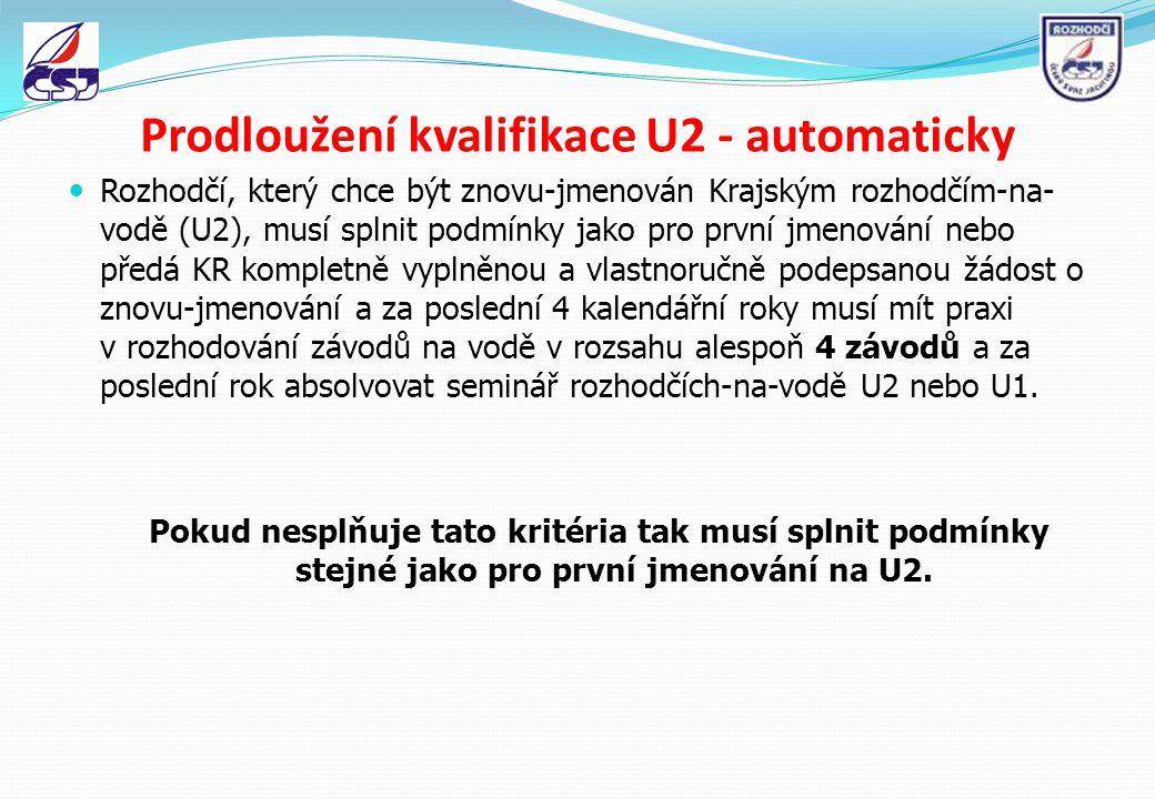 Prodloužení kvalifikace U2 - automaticky Rozhodčí, který chce být znovu-jmenován Krajským rozhodčím-na- vodě (U2), musí splnit podmínky jako pro první