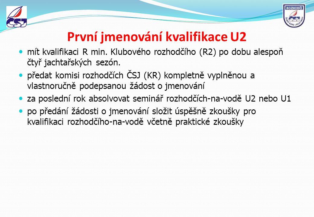 První jmenování kvalifikace U2 mít kvalifikaci R min. Klubového rozhodčího (R2) po dobu alespoň čtyř jachtařských sezón. předat komisi rozhodčích ČSJ