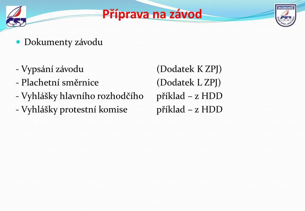 Příprava na závod Dokumenty závodu - Vypsání závodu(Dodatek K ZPJ) - Plachetní směrnice(Dodatek L ZPJ) - Vyhlášky hlavního rozhodčíhopříklad – z HDD -