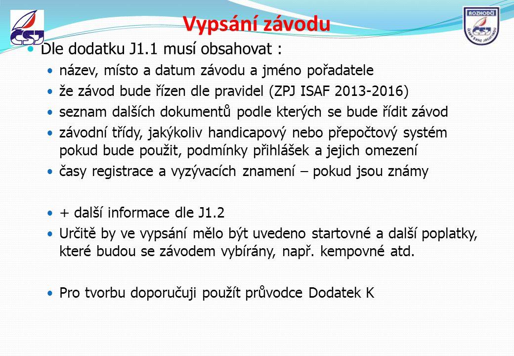 Vypsání závodu Dle dodatku J1.1 musí obsahovat : název, místo a datum závodu a jméno pořadatele že závod bude řízen dle pravidel (ZPJ ISAF 2013-2016)