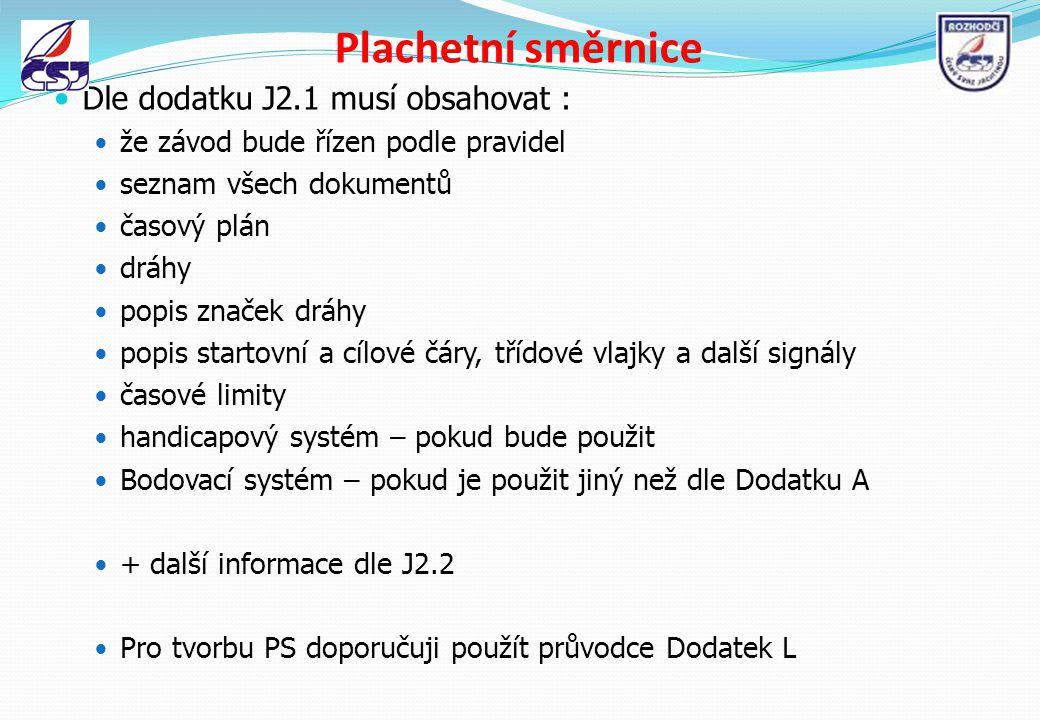 Plachetní směrnice Dle dodatku J2.1 musí obsahovat : že závod bude řízen podle pravidel seznam všech dokumentů časový plán dráhy popis značek dráhy po