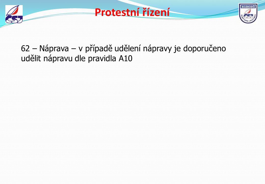 Protestní řízení 62 – Náprava – v případě udělení nápravy je doporučeno udělit nápravu dle pravidla A10