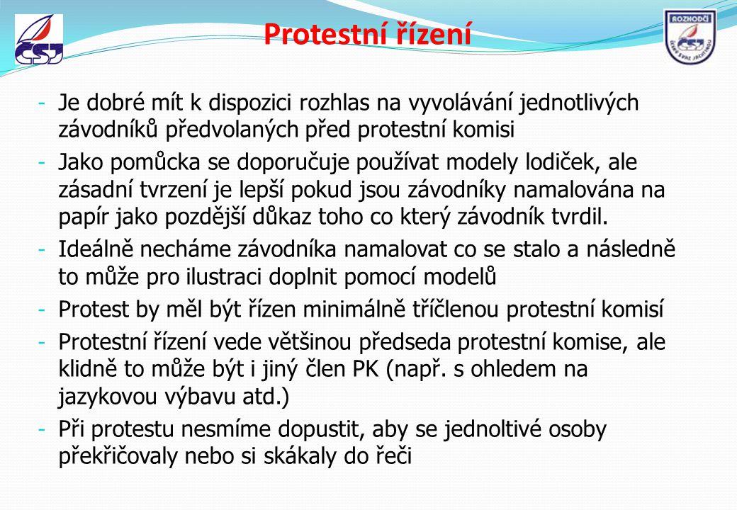 Protestní řízení - Je dobré mít k dispozici rozhlas na vyvolávání jednotlivých závodníků předvolaných před protestní komisi - Jako pomůcka se doporuču