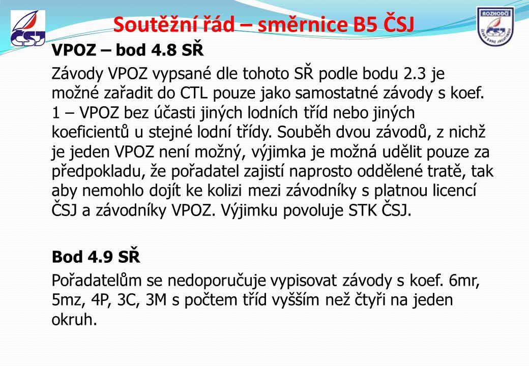 Soutěžní řád – směrnice B5 ČSJ VPOZ – bod 4.8 SŘ Závody VPOZ vypsané dle tohoto SŘ podle bodu 2.3 je možné zařadit do CTL pouze jako samostatné závody
