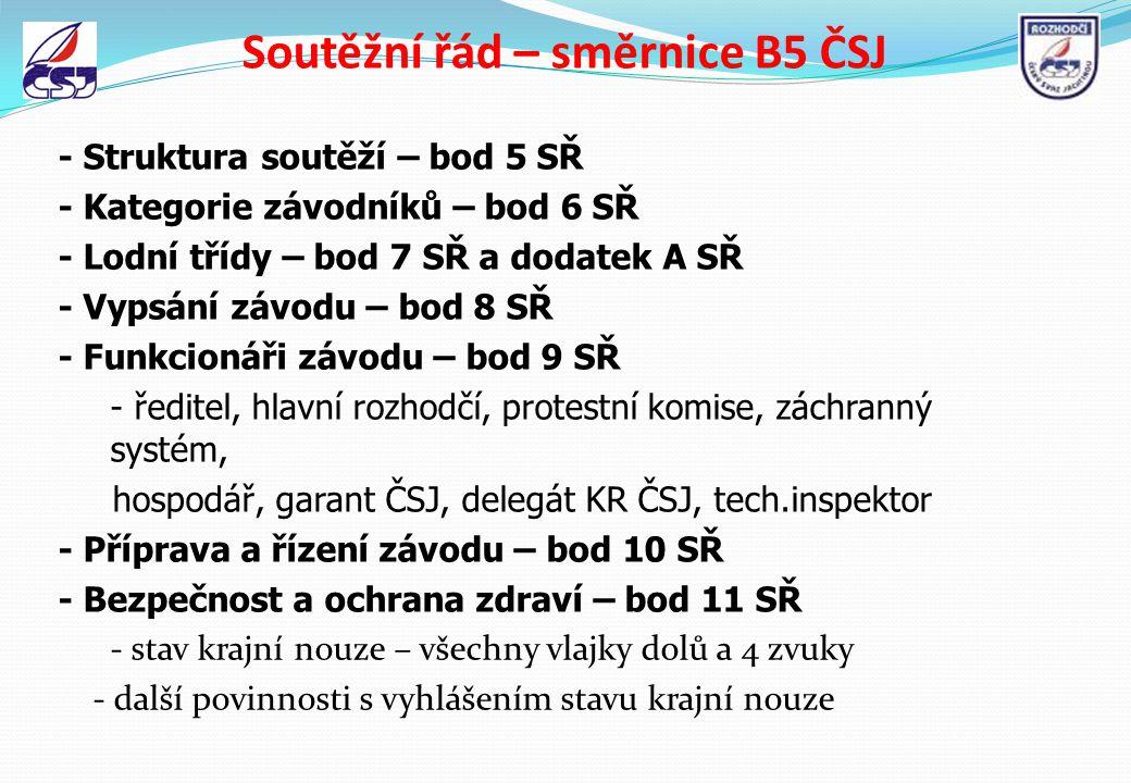 Soutěžní řád – směrnice B5 ČSJ - Struktura soutěží – bod 5 SŘ - Kategorie závodníků – bod 6 SŘ - Lodní třídy – bod 7 SŘ a dodatek A SŘ - Vypsání závod