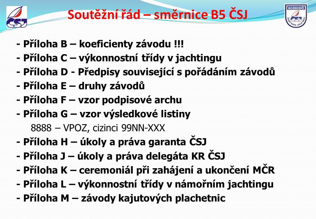 Soutěžní řád – směrnice B5 ČSJ - Příloha B – koeficienty závodu !!! - Příloha C – výkonnostní třídy v jachtingu - Příloha D - Předpisy související s p