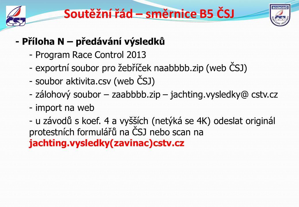 Soutěžní řád – směrnice B5 ČSJ - Příloha N – předávání výsledků - Program Race Control 2013 - exportní soubor pro žebříček naabbbb.zip (web ČSJ) - sou