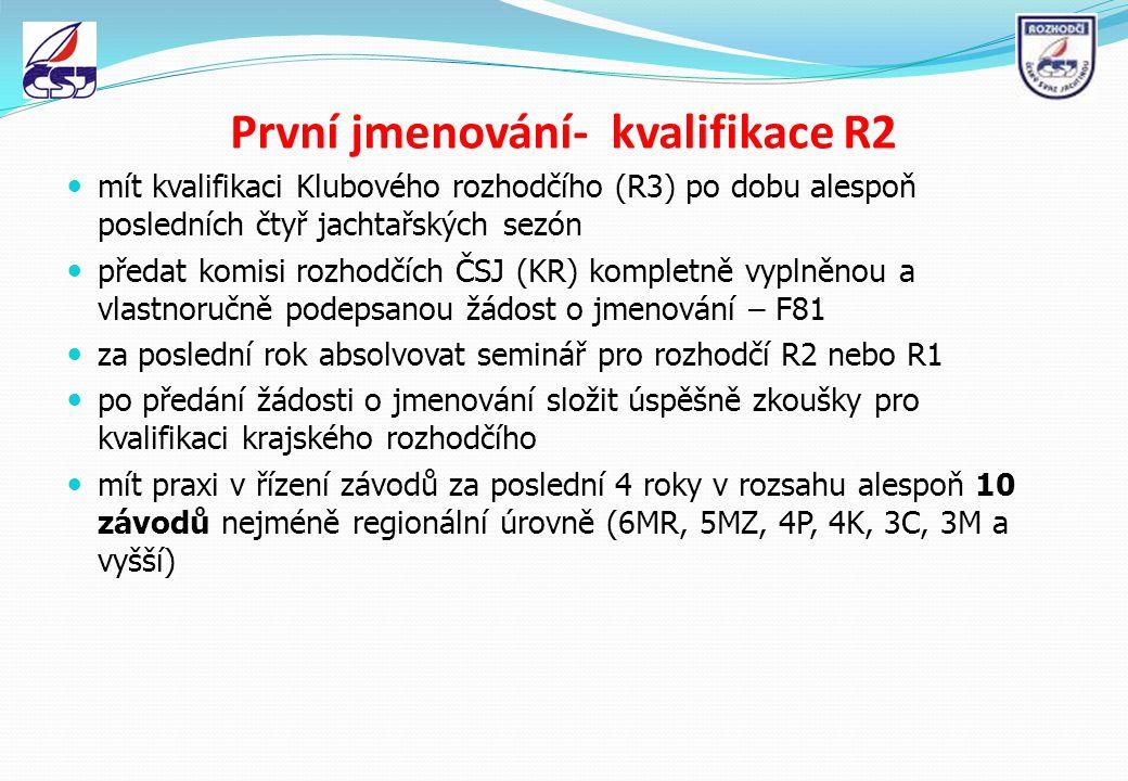 První jmenování- kvalifikace R2 mít kvalifikaci Klubového rozhodčího (R3) po dobu alespoň posledních čtyř jachtařských sezón předat komisi rozhodčích