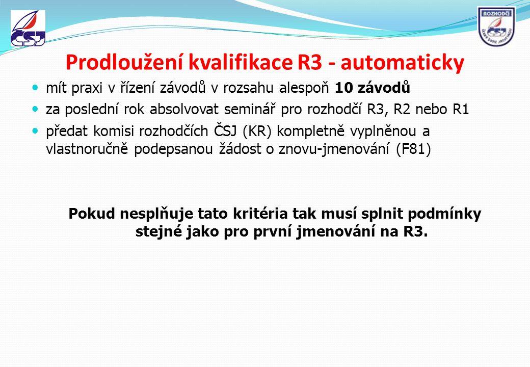 Prodloužení kvalifikace R3 - automaticky mít praxi v řízení závodů v rozsahu alespoň 10 závodů za poslední rok absolvovat seminář pro rozhodčí R3, R2