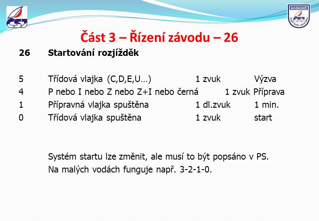Část 3 – Řízení závodu – 26 26 Startování rozjížděk 5Třídová vlajka(C,D,E,U…)1 zvukVýzva 4P nebo I nebo Z nebo Z+I nebo černá1 zvuk Příprava 1Přípravn