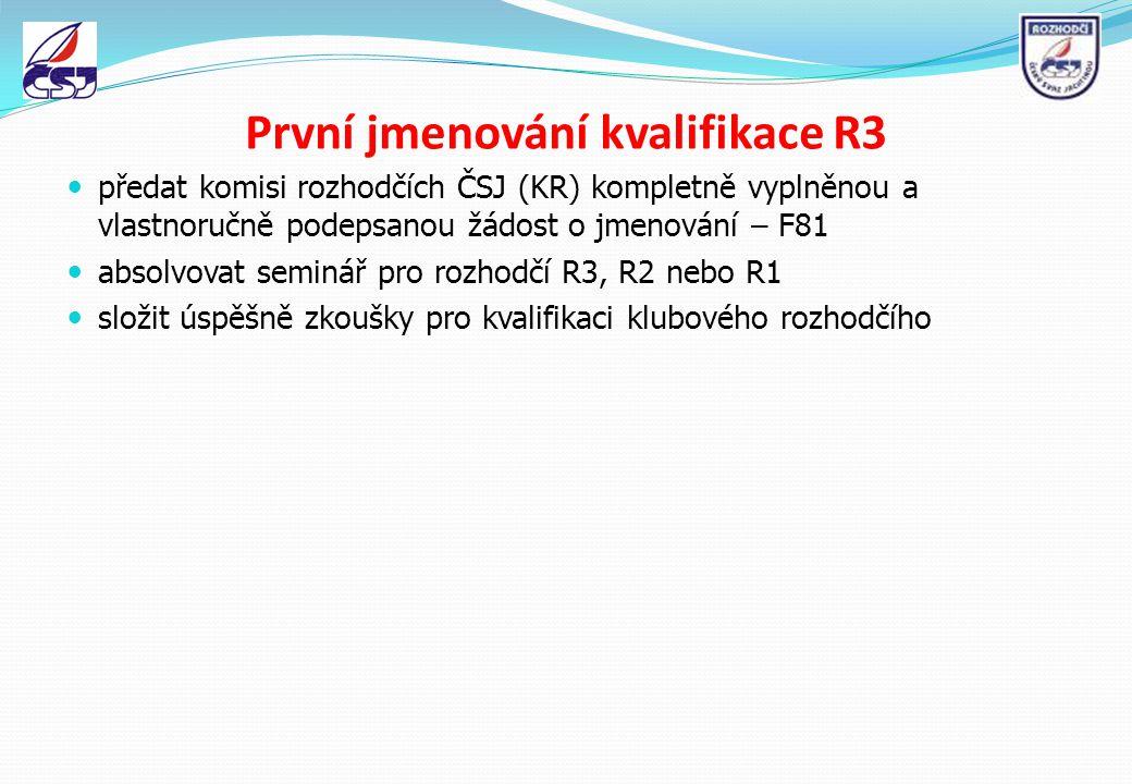První jmenování kvalifikace R3 předat komisi rozhodčích ČSJ (KR) kompletně vyplněnou a vlastnoručně podepsanou žádost o jmenování – F81 absolvovat sem