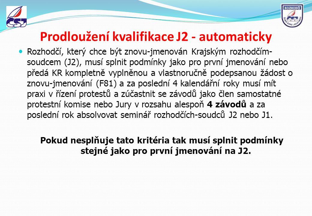 První jmenování kvalifikace J2 předat komisi rozhodčích ČSJ (KR) kompletně vyplněnou a vlastnoručně podepsanou žádost o jmenování F81 za poslední rok absolvovat seminář rozhodčích-soudců J2 nebo J1 po předání žádosti o jmenování složit úspěšně zkoušky pro kvalifikaci rozhodčího-soudce J2 za poslední 4 kalendářní roky mít praxi v řízení protestů a zúčastnit se závodů jako člen protestní komise nebo Jury v rozsahu alespoň 4 závodů