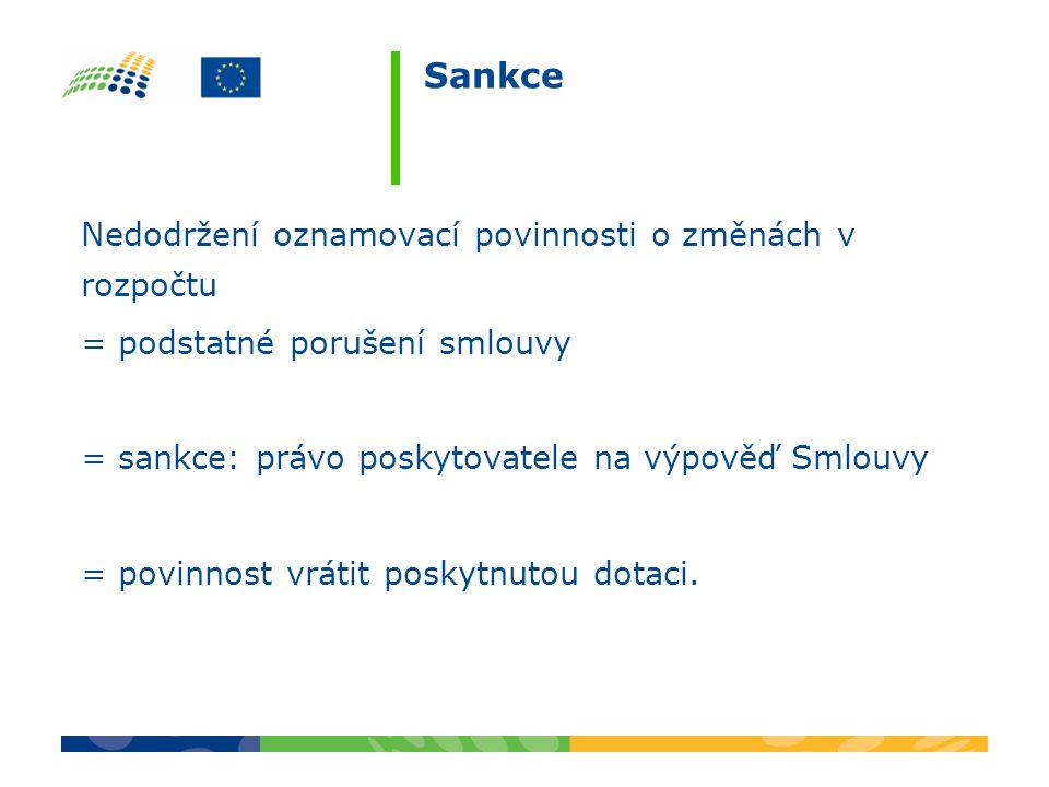 Sankce Nedodržení oznamovací povinnosti o změnách v rozpočtu = podstatné porušení smlouvy = sankce: právo poskytovatele na výpověď Smlouvy = povinnost vrátit poskytnutou dotaci.