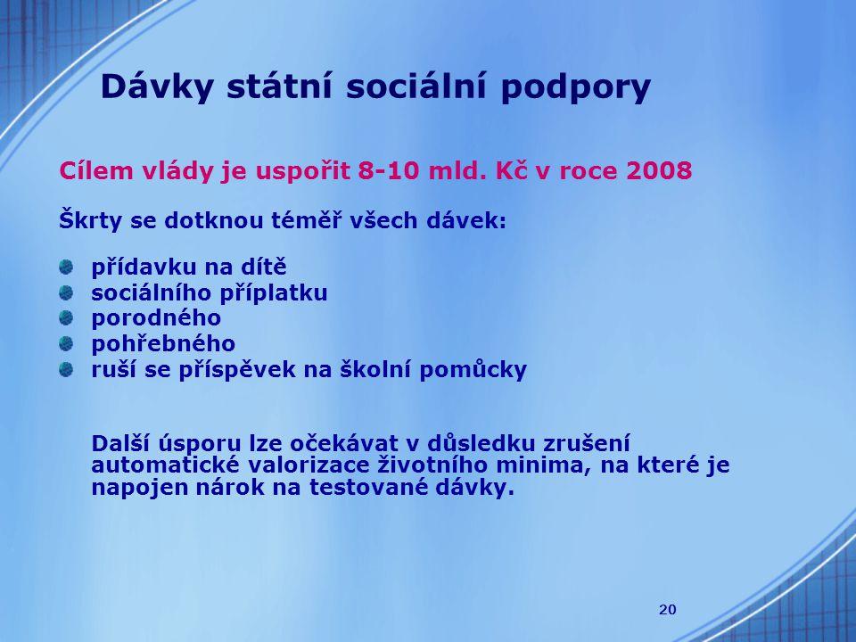 20 Dávky státní sociální podpory Cílem vlády je uspořit 8-10 mld.