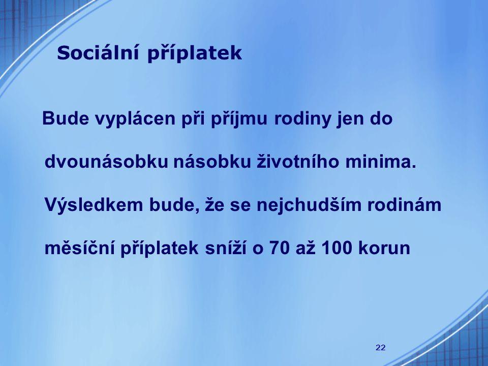 22 Sociální příplatek Bude vyplácen při příjmu rodiny jen do dvounásobku násobku životního minima.