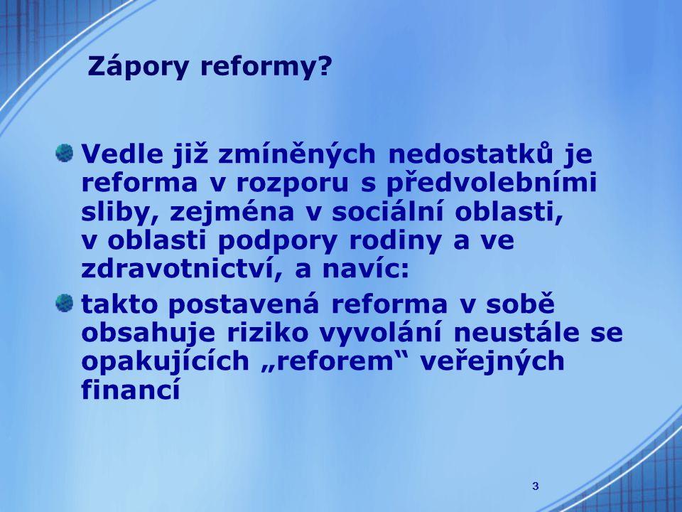 """3 Vedle již zmíněných nedostatků je reforma v rozporu s předvolebními sliby, zejména v sociální oblasti, v oblasti podpory rodiny a ve zdravotnictví, a navíc: takto postavená reforma v sobě obsahuje riziko vyvolání neustále se opakujících """"reforem veřejných financí Zápory reformy"""