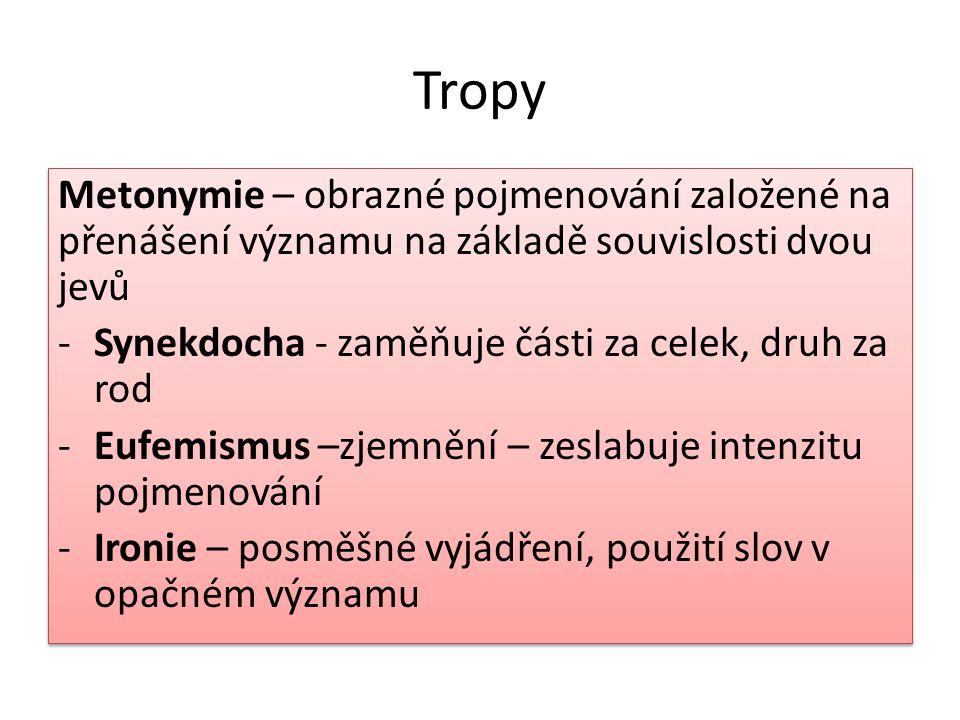Tropy Metonymie – obrazné pojmenování založené na přenášení významu na základě souvislosti dvou jevů -Synekdocha - zaměňuje části za celek, druh za ro