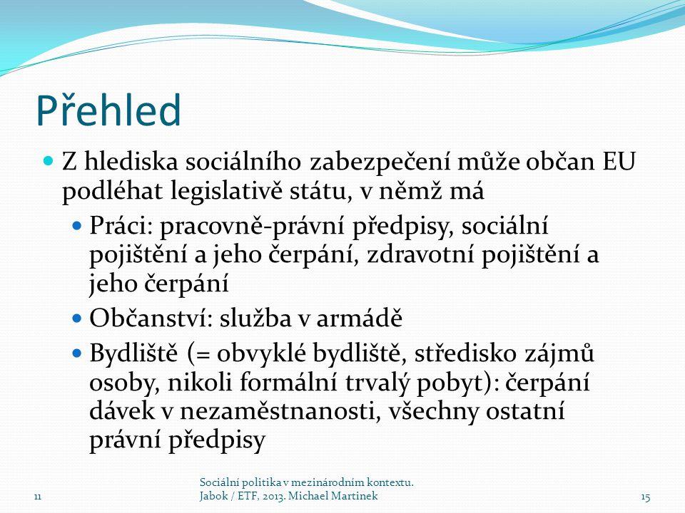 Přehled Z hlediska sociálního zabezpečení může občan EU podléhat legislativě státu, v němž má Práci: pracovně-právní předpisy, sociální pojištění a jeho čerpání, zdravotní pojištění a jeho čerpání Občanství: služba v armádě Bydliště (= obvyklé bydliště, středisko zájmů osoby, nikoli formální trvalý pobyt): čerpání dávek v nezaměstnanosti, všechny ostatní právní předpisy 11 Sociální politika v mezinárodním kontextu.