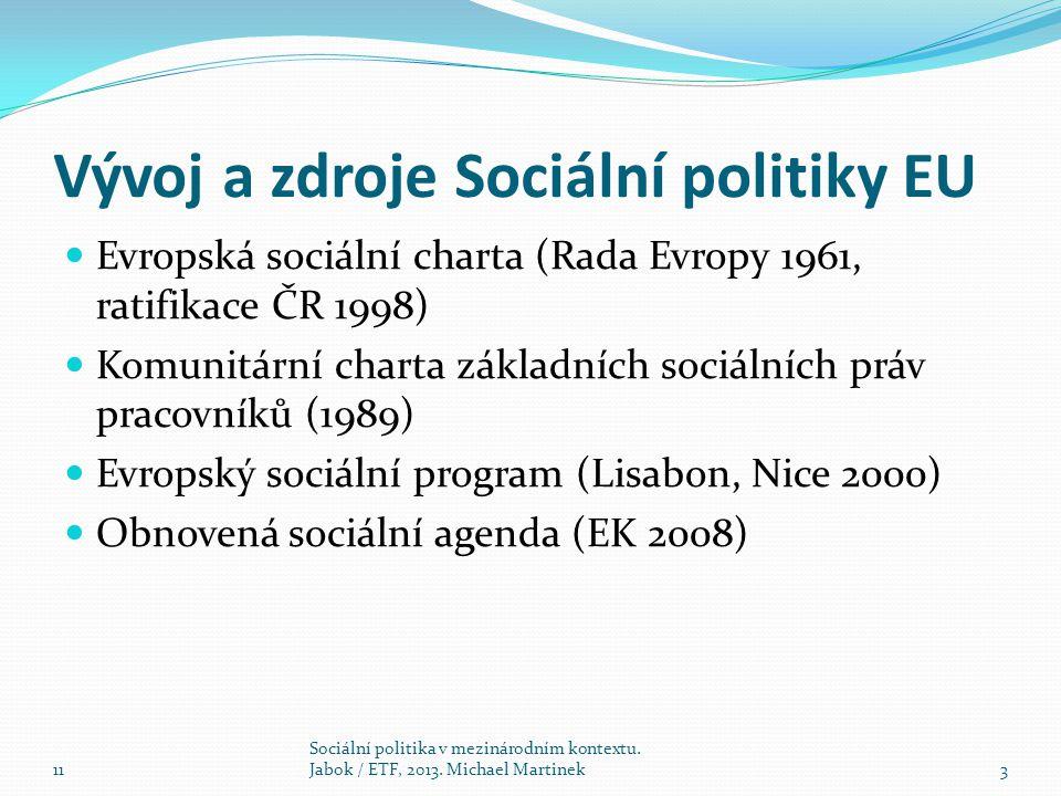 Vývoj a zdroje Sociální politiky EU Evropská sociální charta (Rada Evropy 1961, ratifikace ČR 1998) Komunitární charta základních sociálních práv pracovníků (1989) Evropský sociální program (Lisabon, Nice 2000) Obnovená sociální agenda (EK 2008) 11 Sociální politika v mezinárodním kontextu.