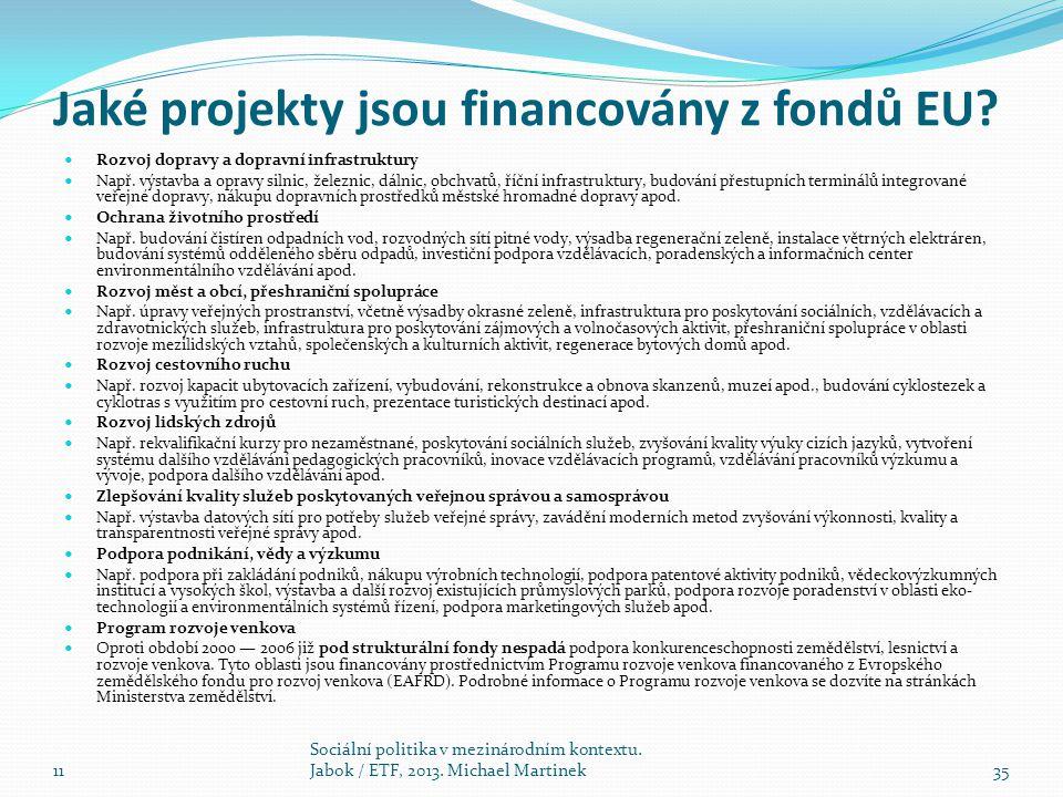 Jaké projekty jsou financovány z fondů EU? Rozvoj dopravy a dopravní infrastruktury Např. výstavba a opravy silnic, železnic, dálnic, obchvatů, říční