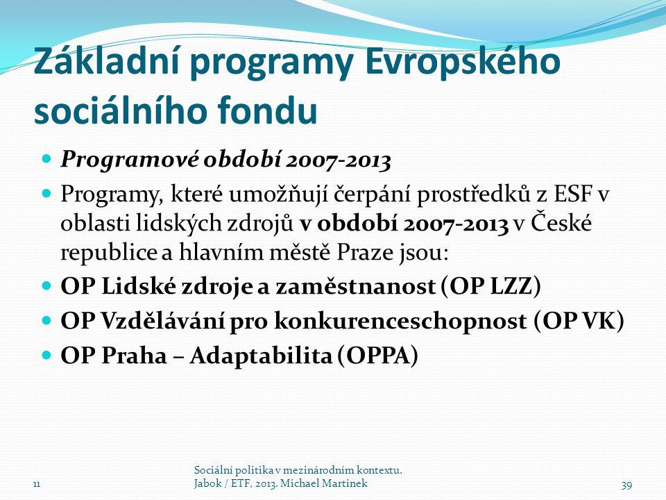 Základní programy Evropského sociálního fondu Programové období 2007-2013 Programy, které umožňují čerpání prostředků z ESF v oblasti lidských zdrojů v období 2007-2013 v České republice a hlavním městě Praze jsou: OP Lidské zdroje a zaměstnanost (OP LZZ) OP Vzdělávání pro konkurenceschopnost (OP VK) OP Praha – Adaptabilita (OPPA) 11 Sociální politika v mezinárodním kontextu.