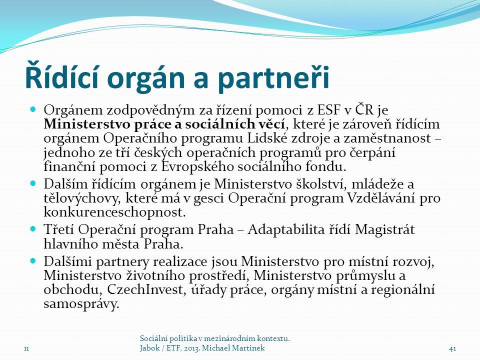 Řídící orgán a partneři Orgánem zodpovědným za řízení pomoci z ESF v ČR je Ministerstvo práce a sociálních věcí, které je zároveň řídícím orgánem Operačního programu Lidské zdroje a zaměstnanost – jednoho ze tří českých operačních programů pro čerpání finanční pomoci z Evropského sociálního fondu.