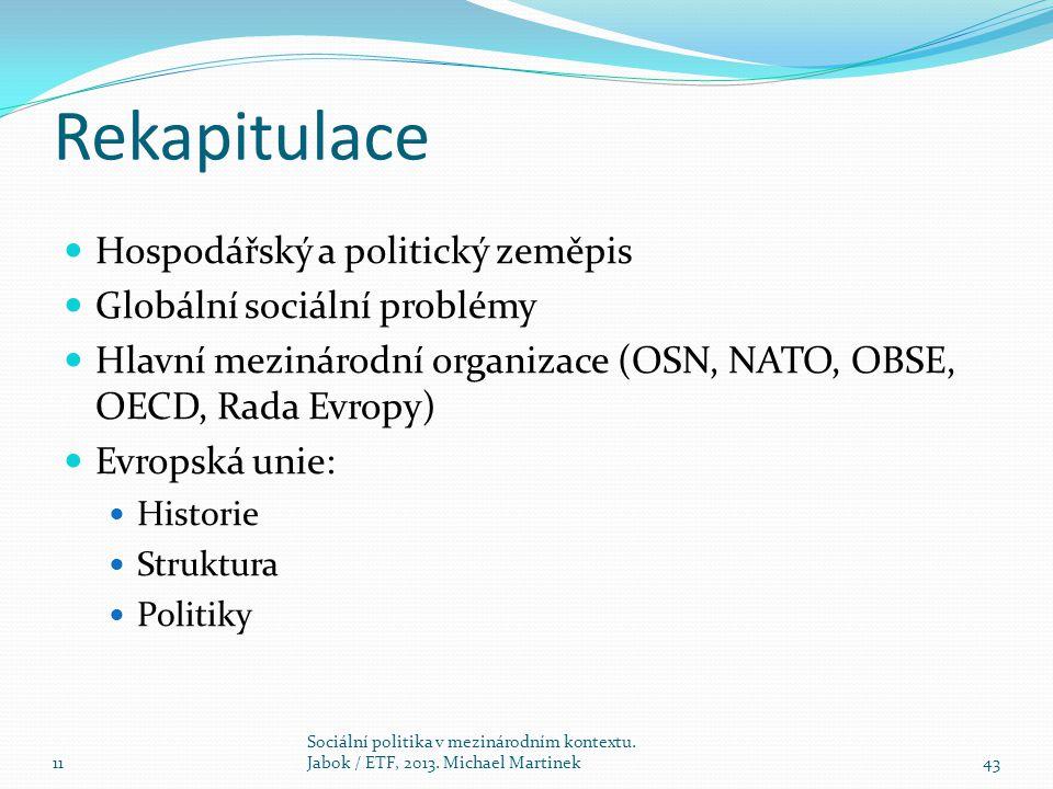 Rekapitulace Hospodářský a politický zeměpis Globální sociální problémy Hlavní mezinárodní organizace (OSN, NATO, OBSE, OECD, Rada Evropy) Evropská un