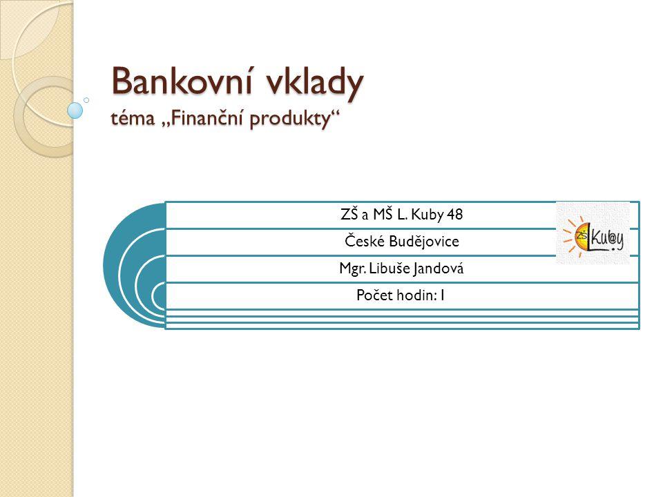 """Bankovní vklady téma """"Finanční produkty"""" ZŠ a MŠ L. Kuby 48 České Budějovice Mgr. Libuše Jandová Počet hodin: 1"""