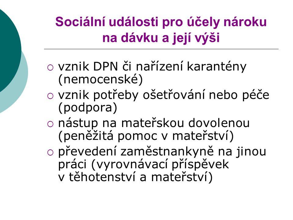 Sociální události pro účely nároku na dávku a její výši  vznik DPN či nařízení karantény (nemocenské)  vznik potřeby ošetřování nebo péče (podpora)  nástup na mateřskou dovolenou (peněžitá pomoc v mateřství)  převedení zaměstnankyně na jinou práci (vyrovnávací příspěvek v těhotenství a mateřství)