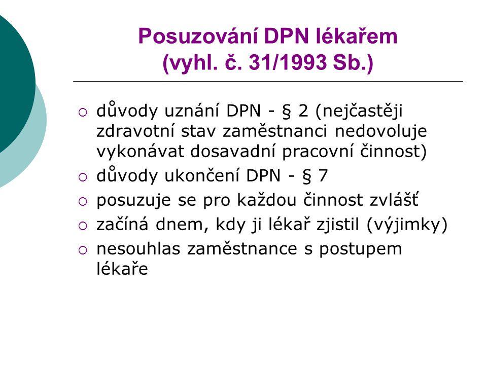Posuzování DPN lékařem (vyhl.č.